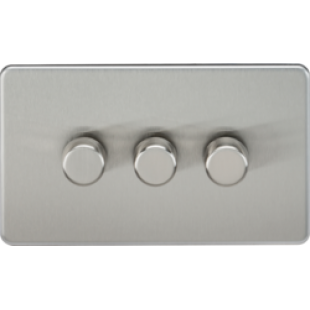 Screwless 3G 2 Way 40-400W Dimmer Switch - Brushed Chrome