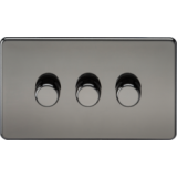Screwless 3G 2 Way 40-400W Dimmer Switch - Black Nickel
