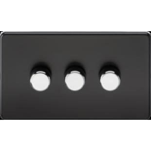 Screwless 3G 2 Way 40-400W Dimmer Switch - Matt Black