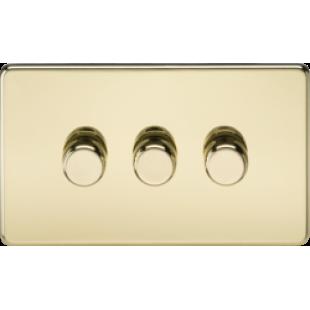Screwless 3G 2 Way 40-400W Dimmer Switch - Polished Brass