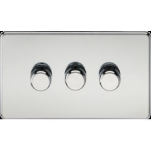 Screwless 3G 2 Way 40-400W Dimmer Switch - Polished Chrome