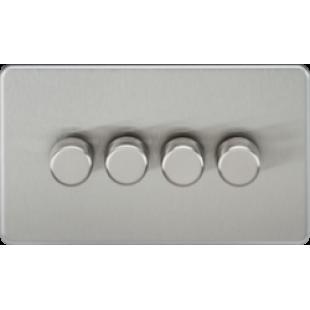 Screwless 4G 2 Way 40-400W Dimmer Switch - Brushed Chrome