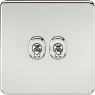 Screwless 10A 2G 2 Way Toggle Switch - Polished Chrome