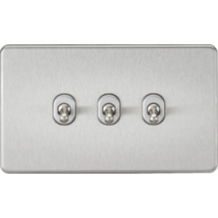 Screwless 10A 3G 2 Way Toggle Switch - Brushed Chrome