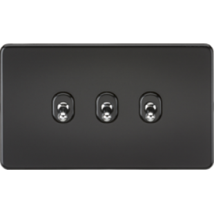 Screwless 10A 3G 2 Way Toggle Switch - Matt Black With Chrome Toggles