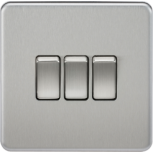 Screwless 10A 3G 2 Way Switch - Brushed Chrome