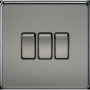 Screwless 10A 3G 2 Way Switch - Black Nickel