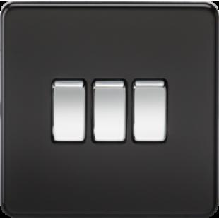 Screwless 10A 3G 2 Way Switch - Matt Black With Chrome Rocker