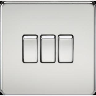 Screwless 10A 3G 2 Way Switch - Polished Chrome