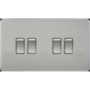 Screwless 10A 4G 2 Way Switch - Brushed Chrome