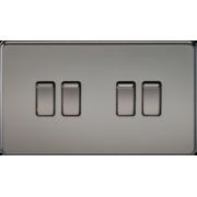 Screwless 10A 4G 2 Way Switch - Black Nickel