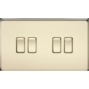 Screwless 10A 4G 2 Way Switch - Polished Brass