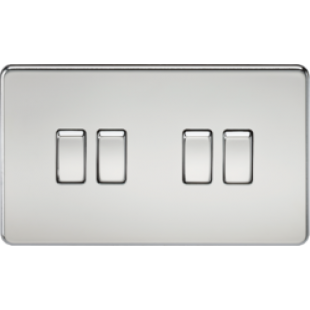 Screwless 10A 4G 2 Way Switch - Polished Chrome