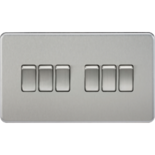 Screwless 10A 6G 2 Way Switch - Brushed Chrome