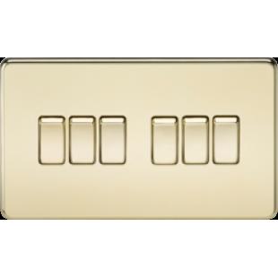 Screwless 10A 6G 2 Way Switch - Polished Brass
