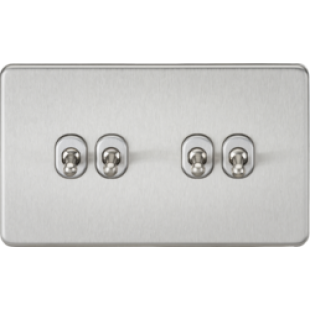 Screwless 10A 4G 2 Way Toggle Switch - Brushed Chrome