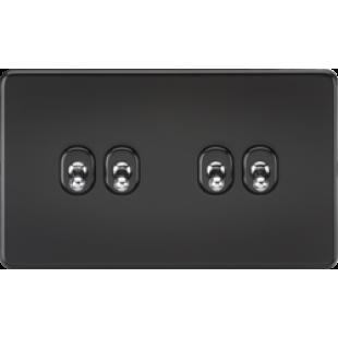 Screwless 10A 4G 2 Way Toggle Switch - Matt Black