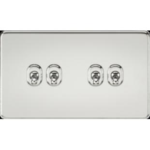 Screwless 10A 4G 2 Way Toggle Switch - Polished Chrome