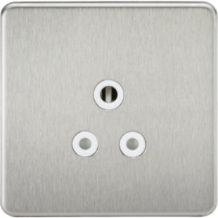 Screwless 5A Unswitched Socket - Brushed Chrome With White Insert