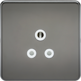 Screwless 5A Unswitched Socket - Black Nickel With White Insert