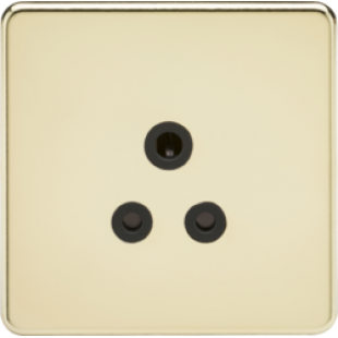 Screwless 5A Unswitched Socket - Polished Brass With Black Insert