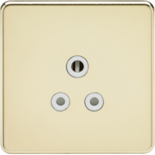 Screwless 5A Unswitched Socket - Polished Brass With White Insert
