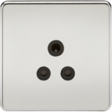 Screwless 5A Unswitched Socket - Polished Chrome With Black Insert