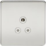 Screwless 5A Unswitched Socket - Polished Chrome With White Insert