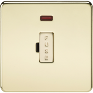 Screwless 13A Fused Spur Unit With Neon - Polished Brass