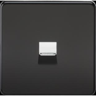 Screwless Telephone Master Socket - Matt Black With Chrome Shutter