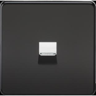 Screwless Telephone Extension Socket - Matt Black With Chrome Shutter