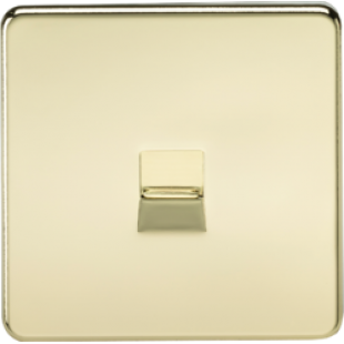 Screwless Telephone Extension Socket - Polished Brass