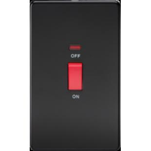 Screwless 45A 2G DP Switch With Neon - Matt Black With Chrome Rocker
