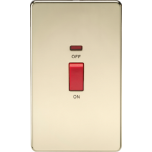 Screwless 45A 2G DP Switch With Neon - Polished Brass