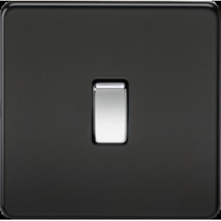 Screwless 20A 1G DP Switch - Matt Black With Chrome Rocker