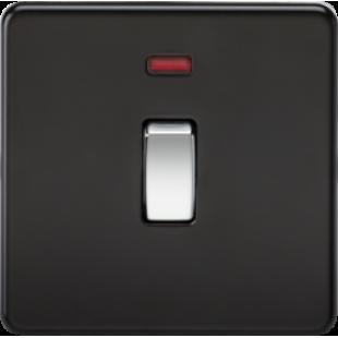 Screwless 20A 1G DP Switch With Neon - Matt Black With Chrome Rocker