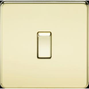 Screwless 20A 1G DP Switch - Polished Brass