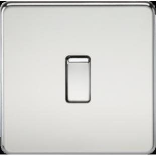 Screwless 20A 1G DP Switch - Polished Chrome