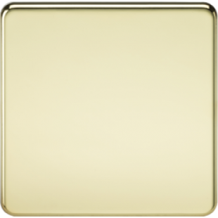 Screwless 1G Blanking Plate - Polished Brass