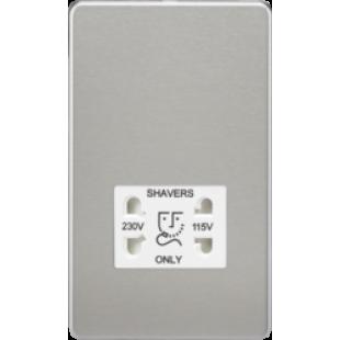 Screwless 115V/230V Dual Voltage Shaver Socket - Brushed Chrome With White Insert