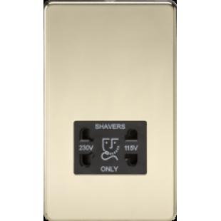 Screwless 115V/230V Dual Voltage Shaver Socket - Polished Brass