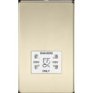 Screwless 115V/230V Dual Voltage Shaver Socket - Polished Brass With White Insert