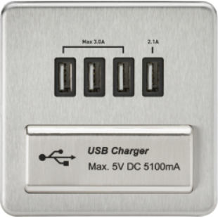 Screwless 1G Quad USB Charger Outlet 5V DC 5.1A - Brushed Chrome With Black Insert