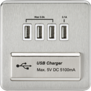 Screwless 1G Quad USB Charger Outlet 5V DC 5.1A - Brushed Chrome With White Insert