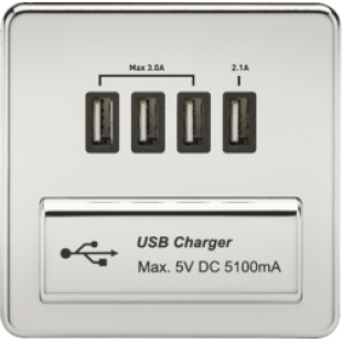 Screwless 1G Quad USB Charger Outlet 5V DC 5.1A - Polished Chrome With Black Insert