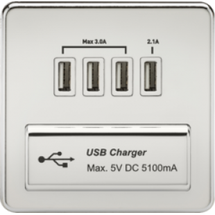 Screwless 1G Quad USB Charger Outlet 5V DC 5.1A - Polished Chrome With White Insert