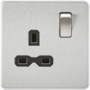 Screwless 13A 1G DP Switched Socket - Brushed Chrome With Black Insert