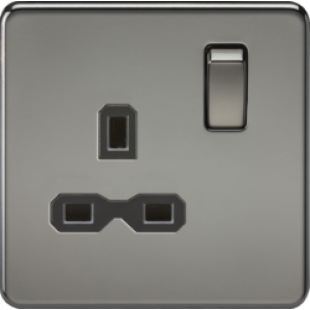 Screwless 13A 1G DP Switched Socket - Black Nickel