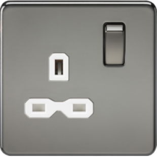 Screwless 13A 1G DP Switched Socket - Black Nickel With White Insert
