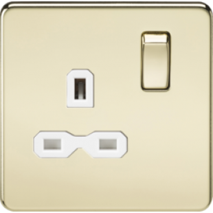 Screwless 13A 1G DP Switched Socket - Polished Brass With White Insert